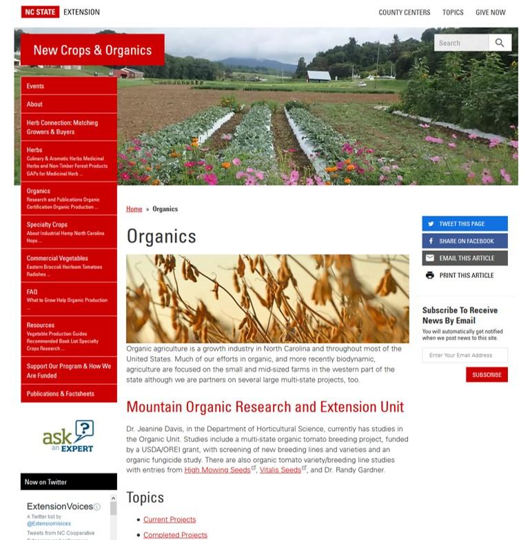 screenshot of organics page on New Crops and Organics website